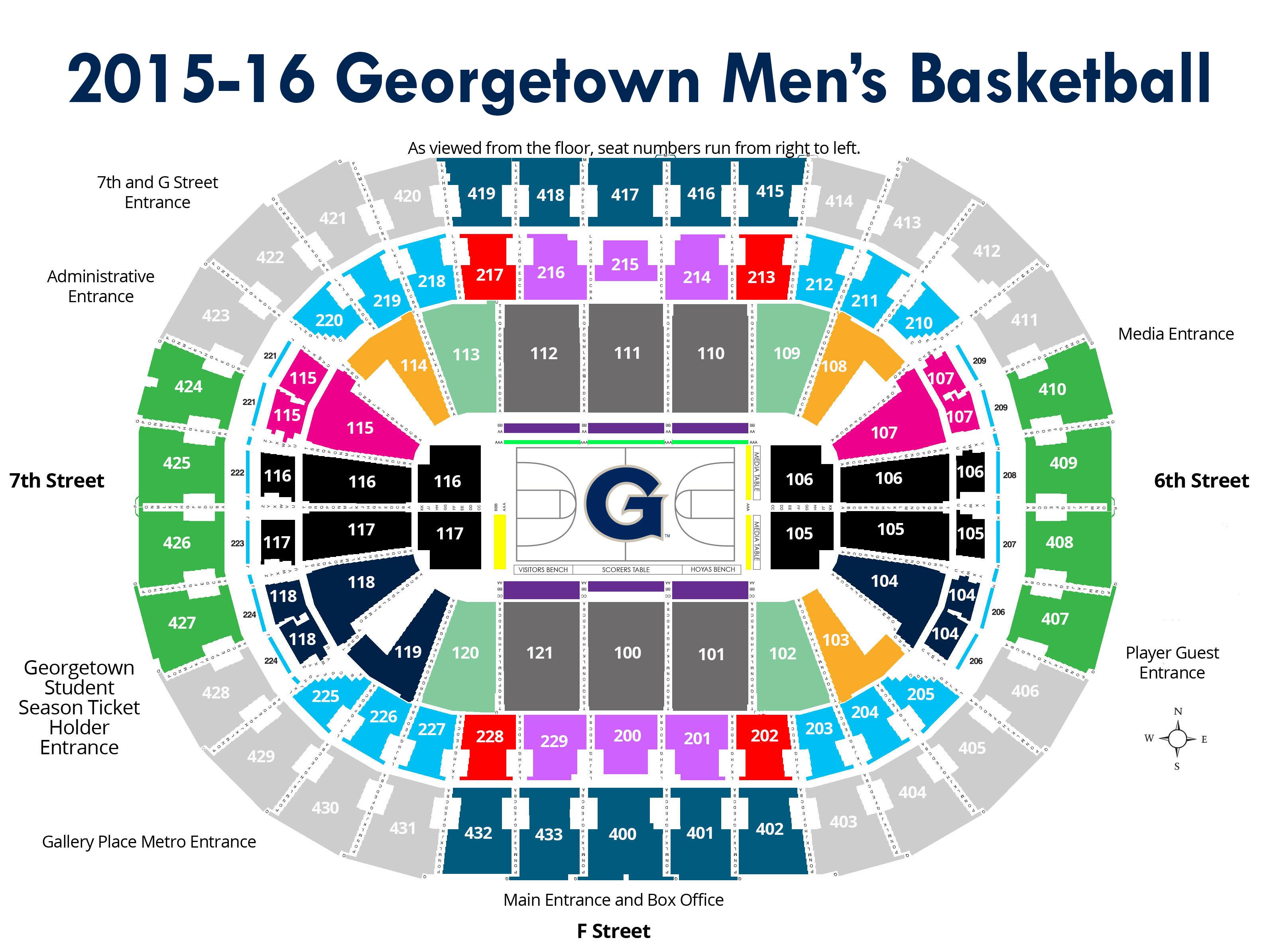2015-16 Georgetown Men's Basketball - Map of Verizon Center
